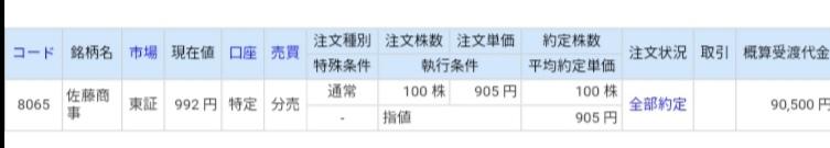 佐藤商事(8065)立会外分売 ライブスター証券から当選